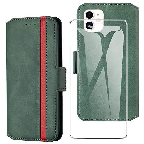 HHUIWIND Hülle für iPhone 12/iPhone 12 Pro Leder + Panzerglas,Handyhülle iPhone 12 Pro,Schutzhülle Handytasche Klapphülle Streifen Hülle mit Kartenfächer für iPhone 12/iPhone 12 Pro 6.1