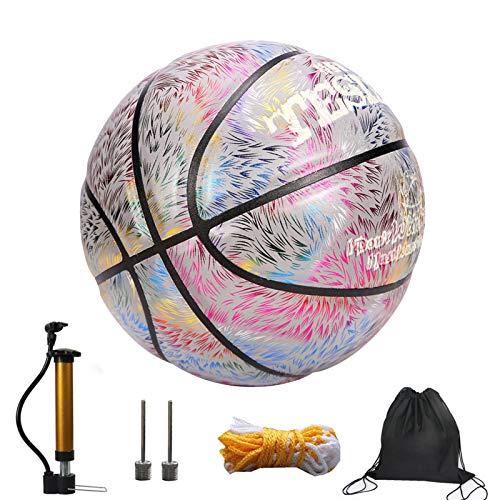 Aosong Luminous - Balón de baloncesto reflectante, con bolsa para pelota, hinchador, needle Boy Sports