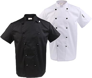 2x Chaqueta de Chef Camisas Uniforme Transpirable Cómodo ...