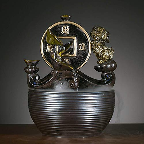 LXZSP Fuentes de Interior Fuente de Mesa Zen de cerámica China Retro Feng Shui Interior Fuente de Agua Que Fluye de la Suerte Característica del Agua con Bomba eléctrica y Niebla de Agua