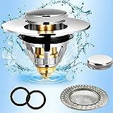 set universale in 5 pezzi tappo lavandino bagno bidet di piletta click clack popup in acciaio inox filtro scarico lavandino all'interno adatto alla cucina piletta lavabo e vasca da bagno(34-38mm)