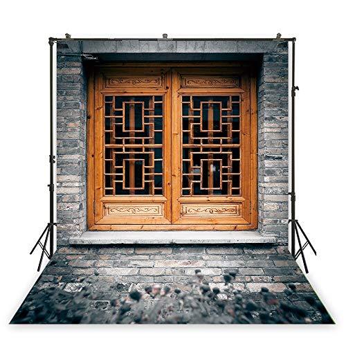 XT-1518, fotocanvas, vintage, oud huis, minable, houten ramen, achtergrond, bakstenen, fotostudio, fotobehang, 2 x 3 meter