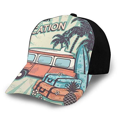 JONINOT Sombreros Unisex Gorras de béisbol Sombreros Sombrero de papá Furgoneta Hippie Cerca de cocoteros Maletas Florales y Tablas de Surf