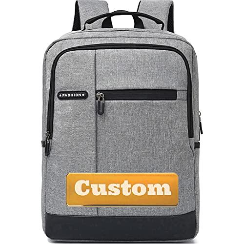 Bolsa de Viaje de Nombre Personalizado para Mujeres 15.6 Portátil de la Bolsa de Mochila con Compartimento Bolsa de Equipaje (Color : Grey, Size : One Size)