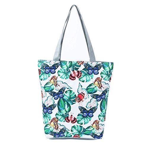 Damen Umhängetasche Schmetterling Blumen Blätter Schultertasche Tragetasche Handtasche Shopper Tasche Einkaufstasche Strandtasche