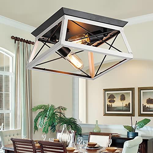 XIPUDA Semi Flush Mount Ceiling Lights, Rustic Kitchen Light Fixture, Farmhouse Island Lighting for...