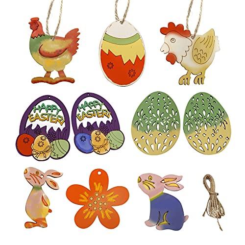 Yisscen Ornements en Bois de Pâques, 40 Pièces Lapin Fleurs Poulet Oeufs de Pâques Pendentif en Bois Utilisé pour la Décoration de Pâques, la Peinture Bricolage Décoration de Fête de Pâques