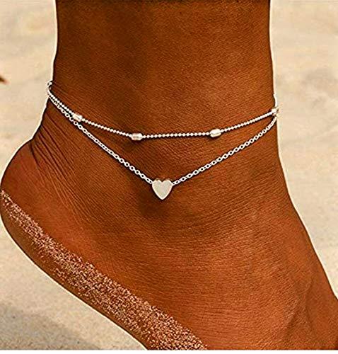 Damen Fußkette mit Herz in Silber | Frauen Schmuck aus Edelstahl | Mehrreihige Fußkettchen auch als Armband geeignet