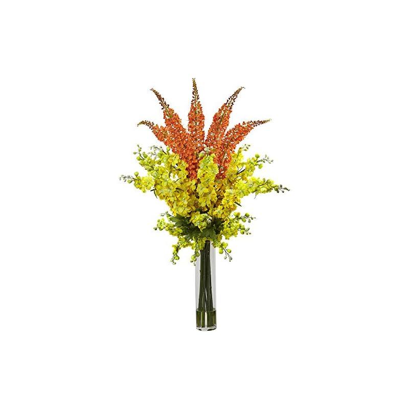 silk flower arrangements nearly natural 1423-yo delphinium & foxtail silk floral arrangement