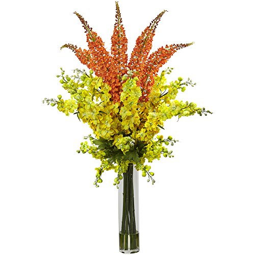 Nearly Natural 1423-YO Delphinium & Foxtail Silk Floral Arrangement