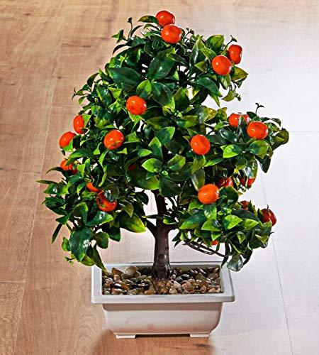 Holzdrehteile Bonsai Baum Mandarinen Dekoration Tischdeko Fensterdeko künstlich 40 cm