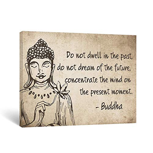 Takfot Inspirational Wall Art Buddha Zen Paintings Rustic Motivational Quotes Prints Vintage Farmhouse Sayings Artwork Home Decor for Yoga SPA Living Room Bedroom 16x12 Inch