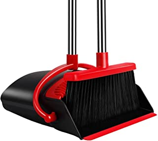 UDAODFA Premium Long Handle Broom and Dustpan Set, Self-Cleaning Broom Bristles Ideal for Kitchen, Home and Lobby Broom and Dustpan Combo (Black&Red)
