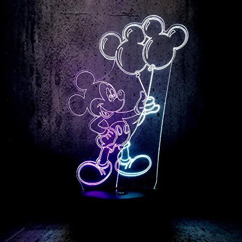 Lámpara De Ilusión 3D Lámpara Led De Doble Color Mickey Mouse Con Globo Buenos Amigos Regalos Decoración Del Hogar Atmósfera Lava Iluminación Exposición Mixta Led