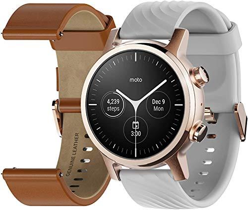 Motorola Moto 360 Smartwatch – 3ª generación – Caja de acero inoxidable con bandas de 20 mm, batería para todo el día, WearOS de GoogleTM – Color oro rosa