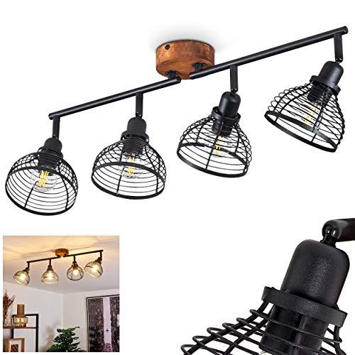 Lámpara de techo Omba, lámpara de techo de metal en negro y madera oscura, 4 focos, estilo vintage/retro, 4 x E14 máx. 40 W, cabezales de lámpara giratorios y orientables.
