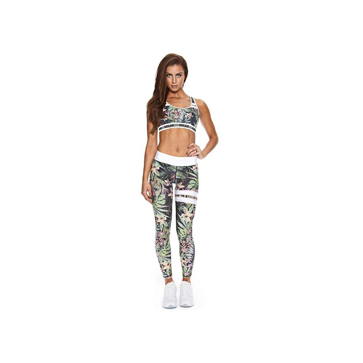 干ばつに頼る偽物女性のヨガウェアランニングスポーツウェア通気性ヨガウェアセットスポーツベストヨガパンツツーピースセット (Color : 1, Size : M)