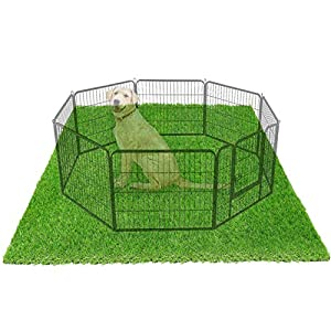 """LOOBANI 72"""" x 72"""" Dog Playpen Flooring Artificial Grass Mat, Waterproof and Non- Slip, Whelping Pads for Puppy Enclosure, Pen, Exercise, Cage, Crate, Kennel, Fence, House - (Not Included Playpen)"""
