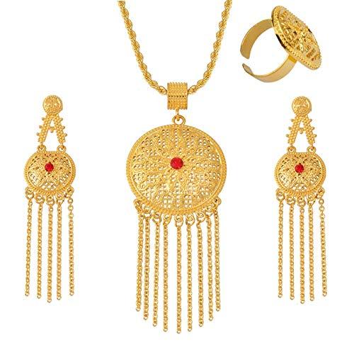 Accesorios Africanos Set De Regalo Colgante Etíope para Mujer Collar Ajustable / Pendientes / Anillo Regalo De Boda Árabe # 077506