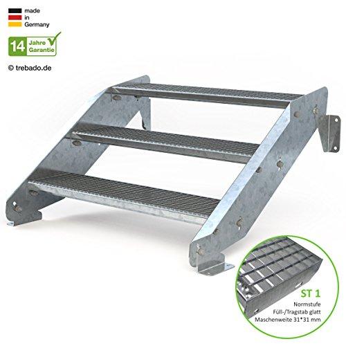Außentreppe 3 Stufen 100 cm Laufbreite - ohne Geländer - Anstellhöhe variabel von 42 cm bis 64 cm - Gitterroststufe ST1 - feuerverzinkte Stahltreppe mit 1000 mm Stufenlänge als montagefertiger Bausatz