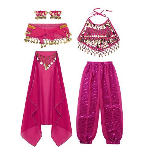 moily Kids Girls Arabian Princess Costume Sequins Belly Dance Outfit Halter Top Harem Pants 5 Pcs Set Rose Red 7-8