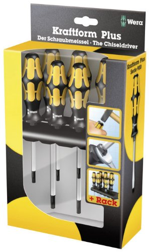 Wera 05024410001 Kraftform Plus 977/6 Torx Screwdriver Set and Rack, 6-Piece