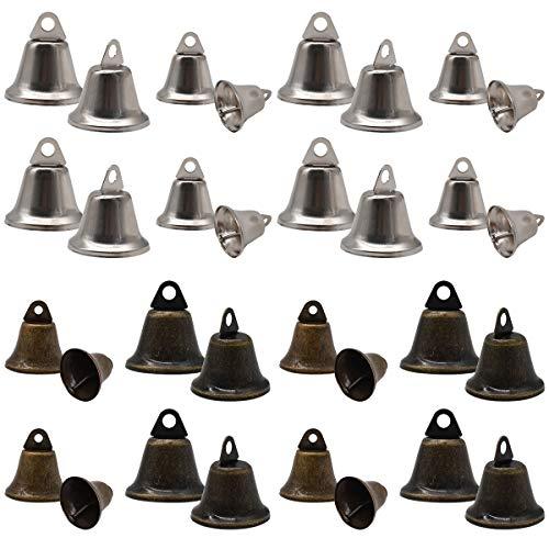 Zliger 20 Pezzi 32mm Jingle Bell Campanelle & 20 Pezzi 38mm Campanelline Natale Jingle Bells Piccole Bells Artigianali per Decorazione Albero di Natale Fare Scacciapensieri del Vento Campanello Cane