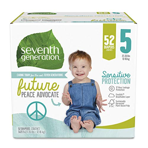 Seventh Generation Baby Diapers, Size 5, 52 Count,...