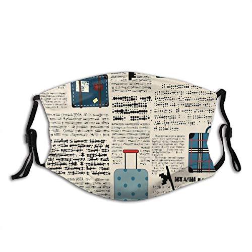 Co_V-Er - Bufanda para la cara, lavable, reutilizable, estilo retro, para viajes, vacaciones, estilo vintage, maletas, llaves, texto con 2 filtros, para exteriores, M_A_sk