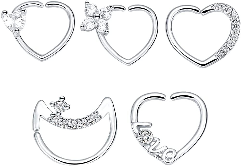 WASOLIE 16G Stainless Steel Body Piercing Women's Nose Studs 4Pcs/5Pcs Heart and Moon Shaped Rose Gold/Sliver/Golden