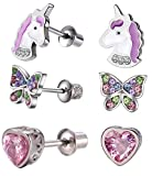 Hypoallergenic Unicorn Butterfly Heart Stud Earring Set with Secure Screwback for Kids, Toddlers, Little Girls, Baby Girls