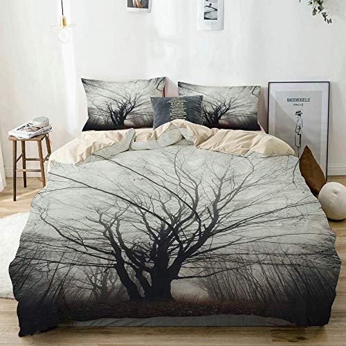 Qoqon Duvet Cover Set Beige,Nature Autumn Tree in Fog Dark Print,Decorative 3 Piece Bedding Set with 2 Pillow Shams