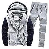 Aiserkly Herren Freizeitanzug Sportanzug Trainingsanzug Hoodie+Sporthose Winter Camouflage Warme Fleece Tracksuit Streetwear Zwei-Teilig Outwear Coat Pullover Top Hosen Sets X-D-Grau XL