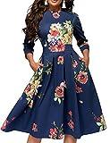 Simple Flavor Women's Floral Vintage Dress Elegant Midi Evening Dress 3/4 Sleeves (0589Blue, Large)