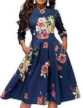 Simple Flavor Women s Floral Vintage Dress Elegant Midi Evening Dress 3/4 Sleeves  0589Blue Large
