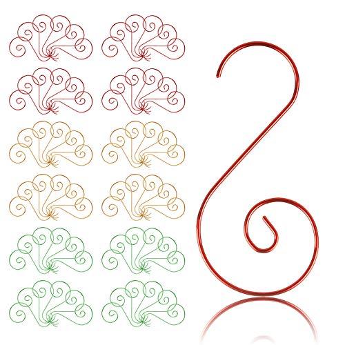 Naler 120 x Kugelaufhänger S-Haken in 3 Farben Schnellaufhänger für Weihanchtskugel Weinachtsdeko - Gold, Grün & Rot