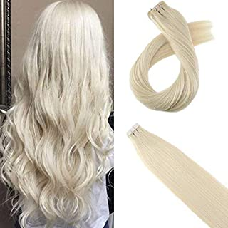 Moresoo 12 Inch Tape on Hair Seamless Skin Weft Adhesive Hair Extensions Remy Human Hair Extensions Color #60 Platinum Blonde Human Hair Extensions Blonde 20pcs/30g