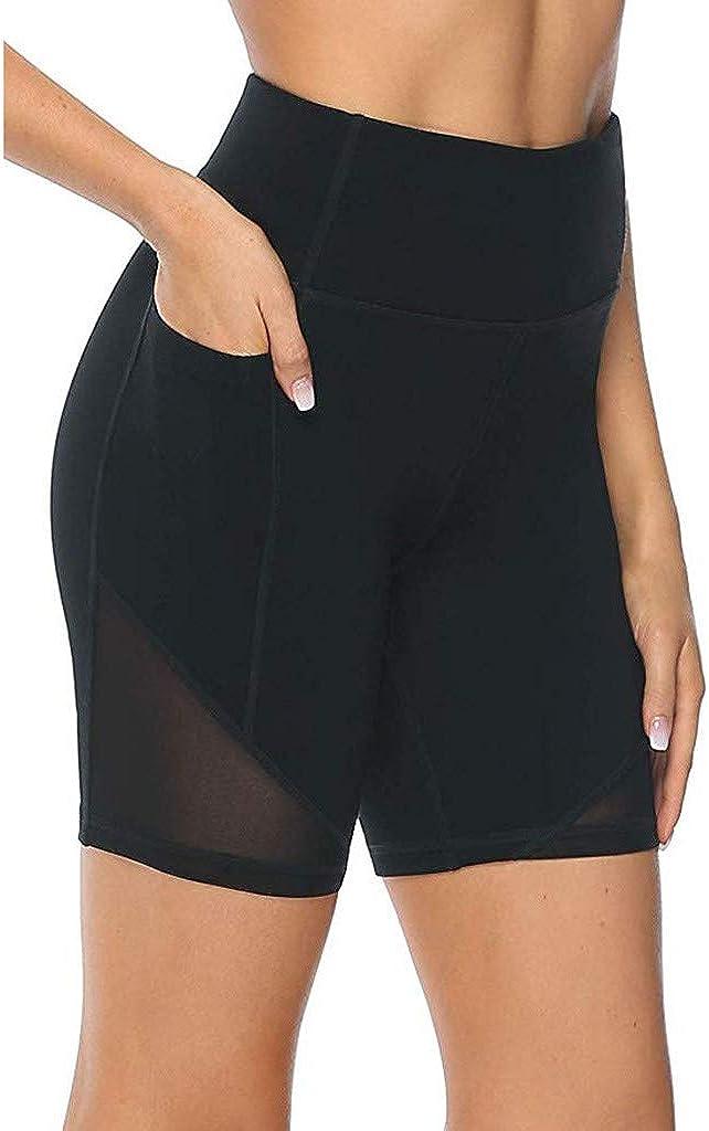 POLLYANNA KEONG Yoga Shorts for Women, Yoga Shorts with Pockets for Women High Waist Workout Running Short Workout Shorts