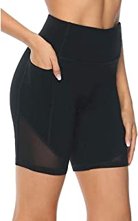Women High Waisted Sports Shorts with Pocket, Soft Athletic Tummy Control Pants, Sexy Butt Lift Tights for Running Cycling Yoga Workout Fitness