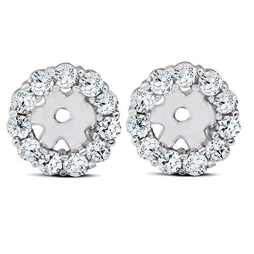 3/8ct Halo Diamond Earring Jackets 14K White Gold (4mm) (0.375 Ct Diamond)