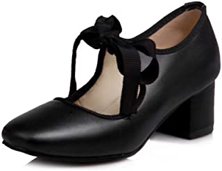 BalaMasa Womens Dance-Ballroom Solid Travel Leather Pumps Shoes APL10549