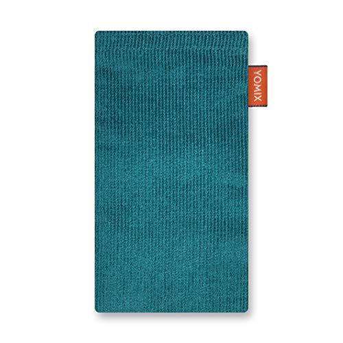YOMIX Lasse Petrol Handytasche Tasche für LG Q7 Alfa aus Cordstoff mit Microfaserinnenfutter | Hülle mit Reinigungsfunktion | Made in Germany