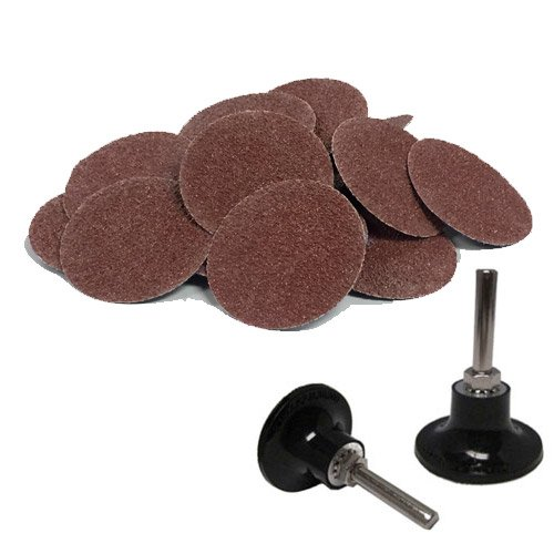 """3"""" Roloc A/O Quick Change Sanding Disc 24 Grit and Mandrel Disc Holder- 25 Pack"""