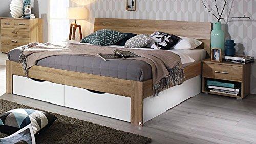 Bloominghome Bett mit 4 Schubkästen Eiche Sonoma-alpinweiß 160 x 200 cm Schubladenbett Funktionsbett