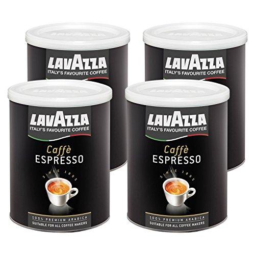 Lavazza Kaffee Espresso 100% Arabica, gemahlener Bohnenkaffee in Dose, (4 x 250g Packung)