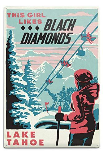 Lantern Press Lake Tahoe, California, Ski Black Diamond 102838 (12x18 Aluminum Wall Sign, Metal Wall Decor Ready to Hang)