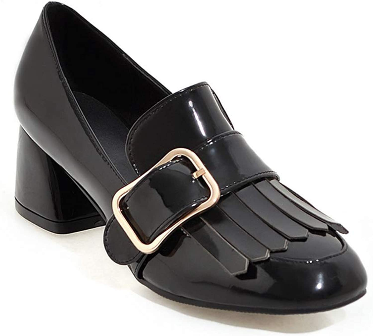 GIY Women's Square Toe Peny Loafer Pump Tassel Buckle Leather Chunky Mid Heel Uniform Dress Oxfords shoes