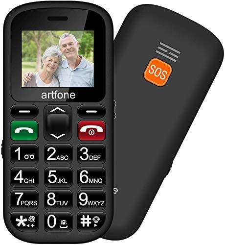Artfone Teléfono móviles para Mayores con Teclas Grandes, Artfone Senior 1.77 Pulgadas Pantalla a Color, Fácil de Usar Celular para Ancianos con Botón SOS y Cámara-Negro