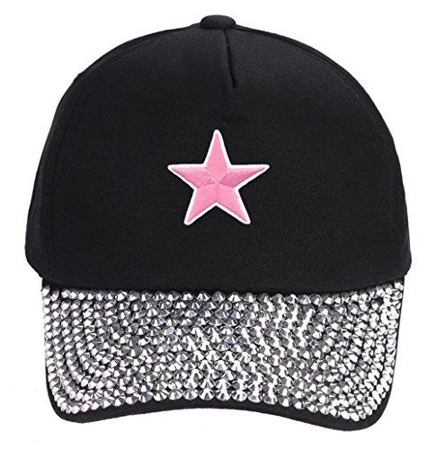 Pink Star Hat - Black Rhinestone Adjustable Womens