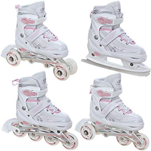 Croxer Patines en línea 4 en 1 / Triskate/Patines de ruedas / patines de hielo Optima White/Rosa ajustables (35-38 (22-24 cm)